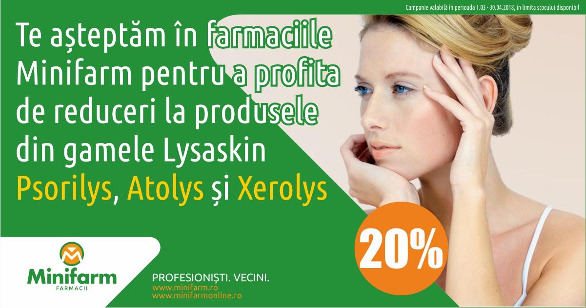 20% reducere la gamele Lysaskin Atolys, Psorilys și Xerolys