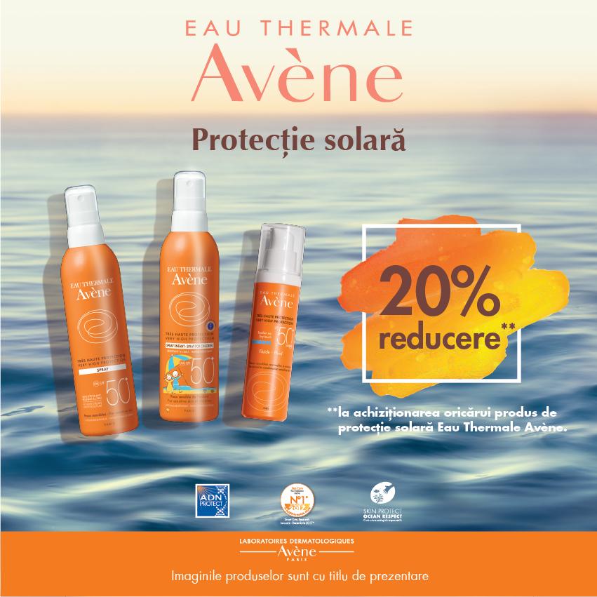 20% reducere la gama Avene pentru protecție solară