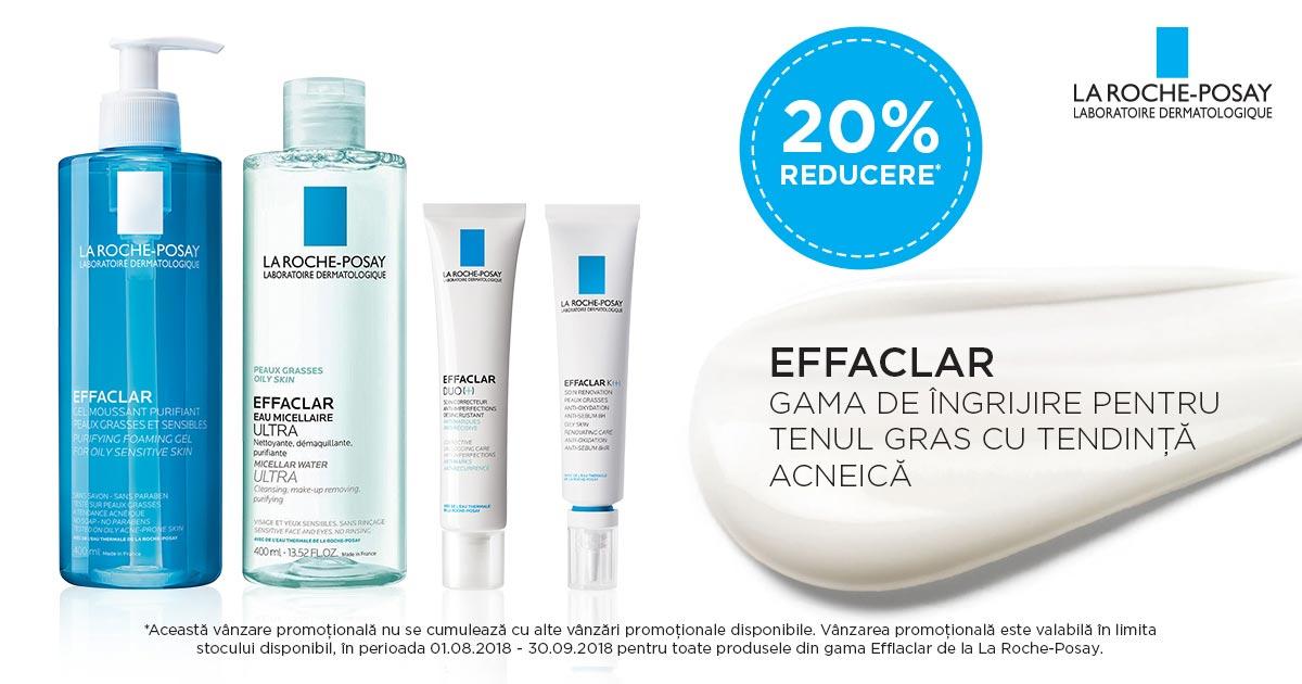 20% reducere pentru gama de ingrijire a tenului Effaclar, în luna August!