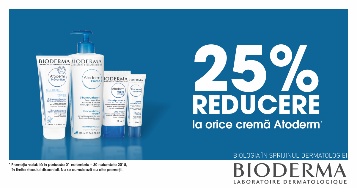 25% discount la cremele din gama Bioderma Atoderm