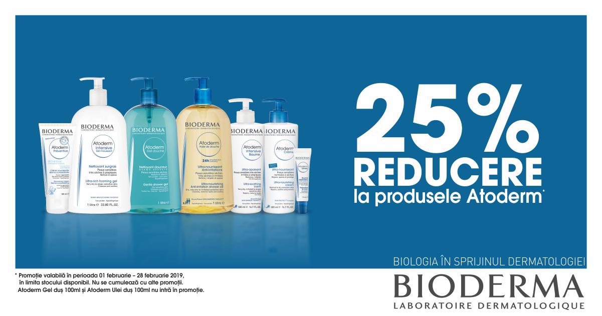 25% reducere la produsele din gama Atoderm!