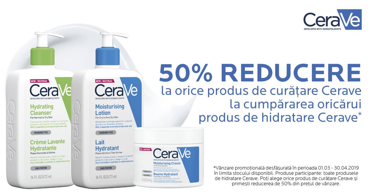 CeraVe - un produs de hidratare îți aduce 50% reducere la un produs de curățare!