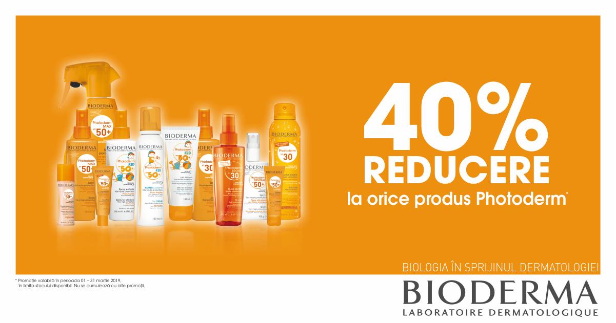 40% reducere la orice produs Bioderma Photoderm!
