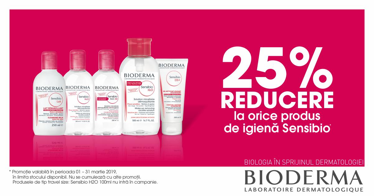 25% reducere la orice produs de igiena Bioderma Sensibio!