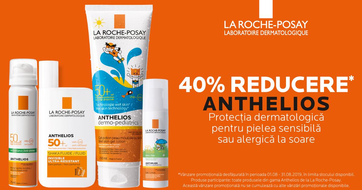 40% reducere la solarele La Roche-Posay Anthelios