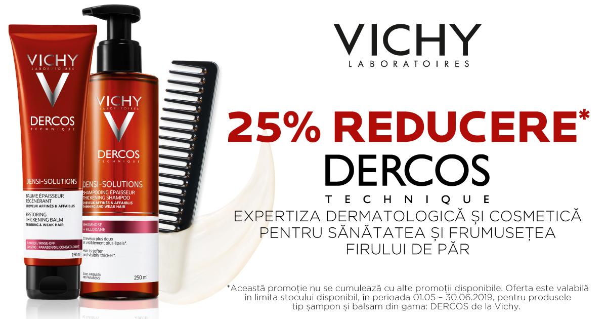 25% reducere pentru sanatatea firului de par cu Vichy Dercos