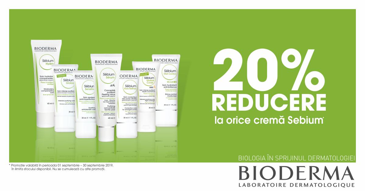 20% reducere la orice crema Bioderma SEBIUM