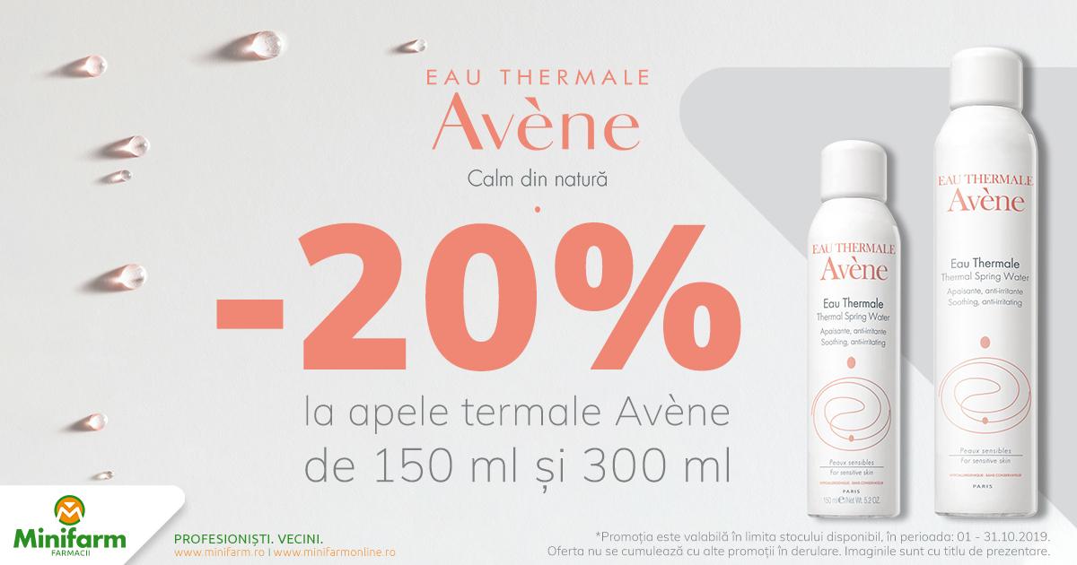 20% reducere pentru produsele selecționate din gama de ape termale Avene!