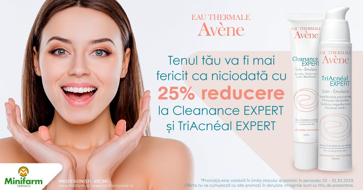 25% reducere pentru produsele selecționate din gama Avene Avene Cleanance si TriAcneal Expert!