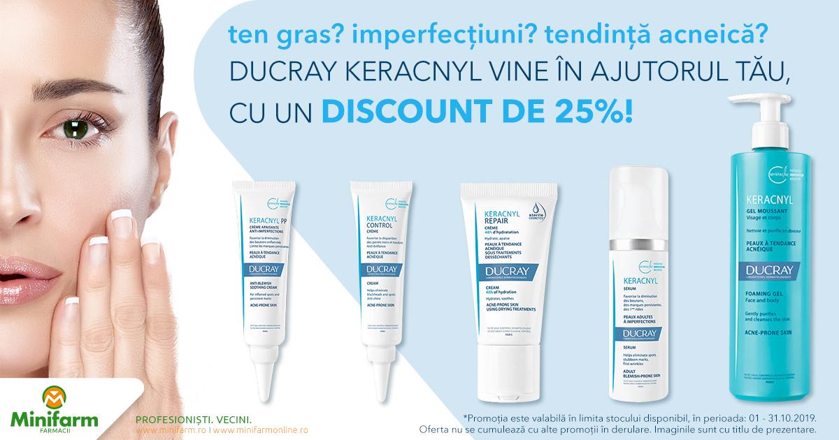 25% reducere pentru produsele selecționate din gama Ducray Keracnyl!