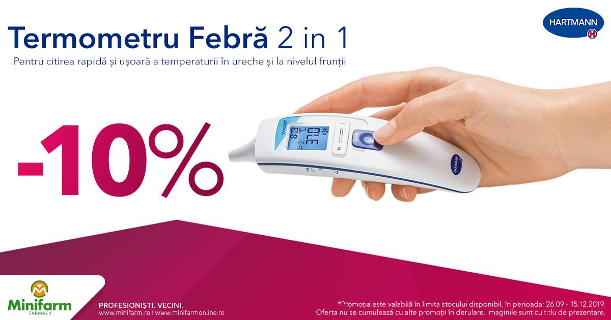 10% discount pentru Termometrul Febra 2 in 1 de la Hartmann!