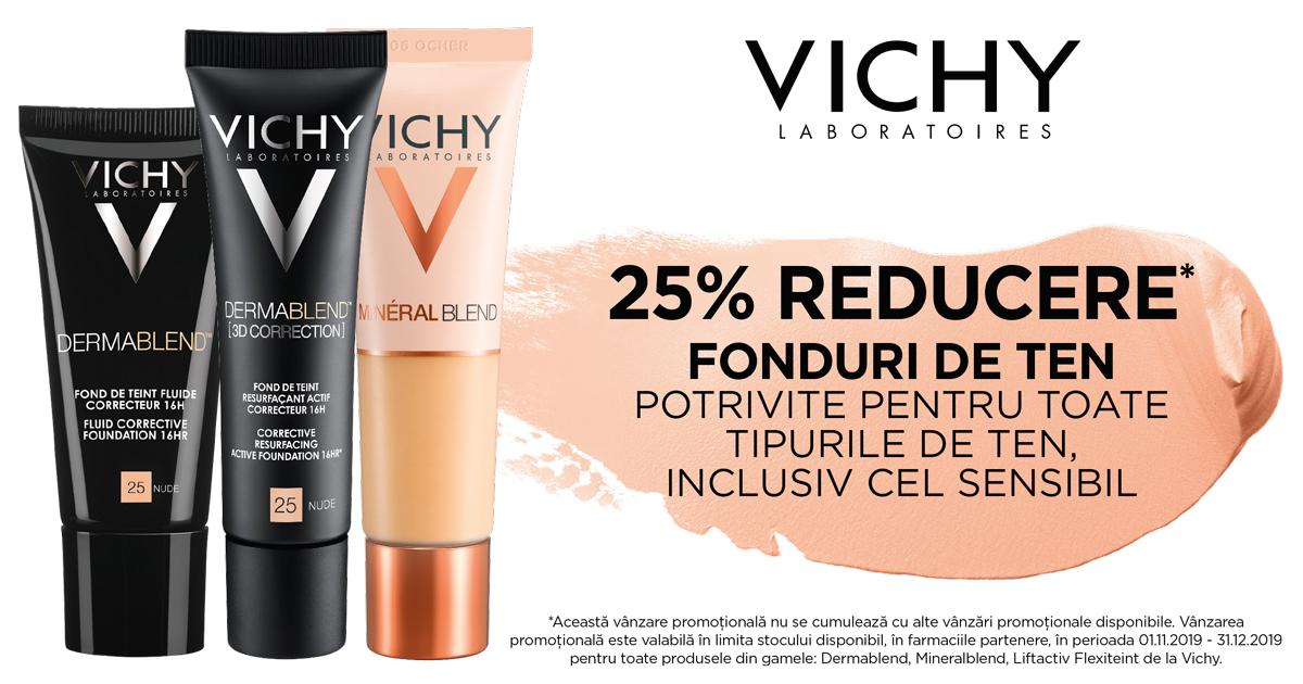 25% reducere pentru fondurile de ten Vichy