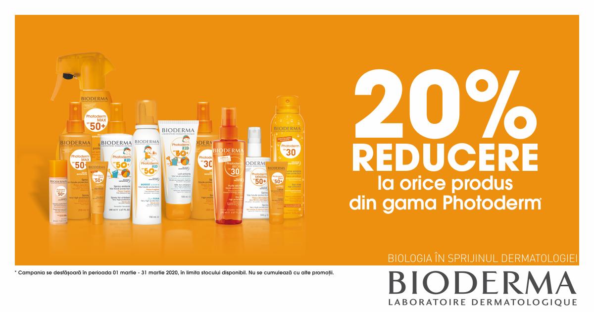 20% reducere pentru produsele selecționate din gama Bioderma Photoderm!