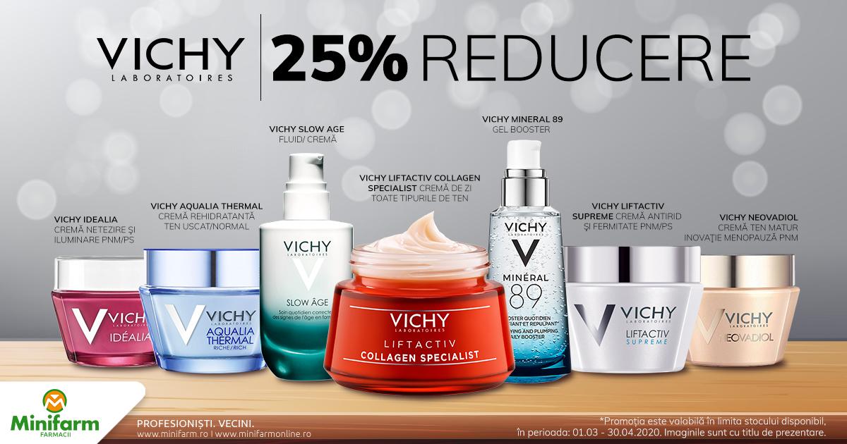 25% reducere pentru produsele selectionate din gama Vichy