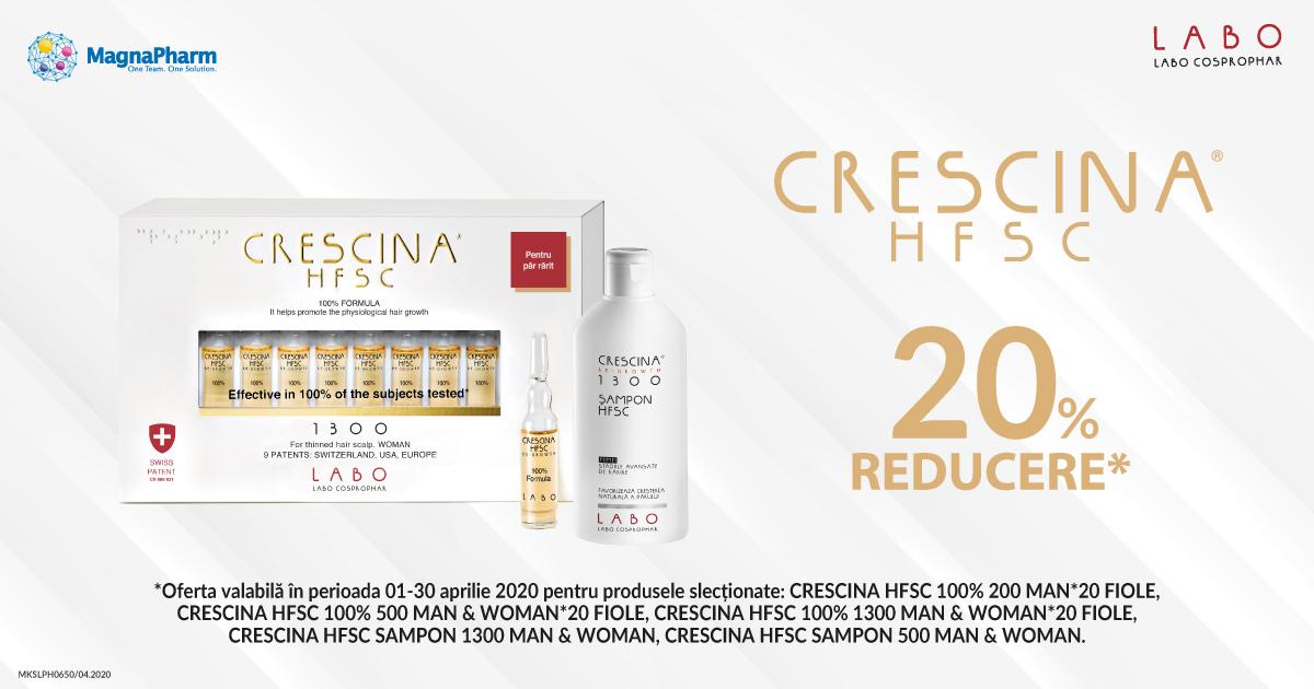 20% reducere la tratamentele dermato-cosmetice Crescina