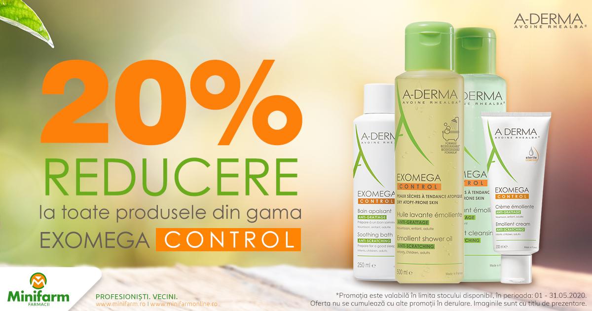 20% reducere pentru produsele selecționate din gama derma Exomega Control!