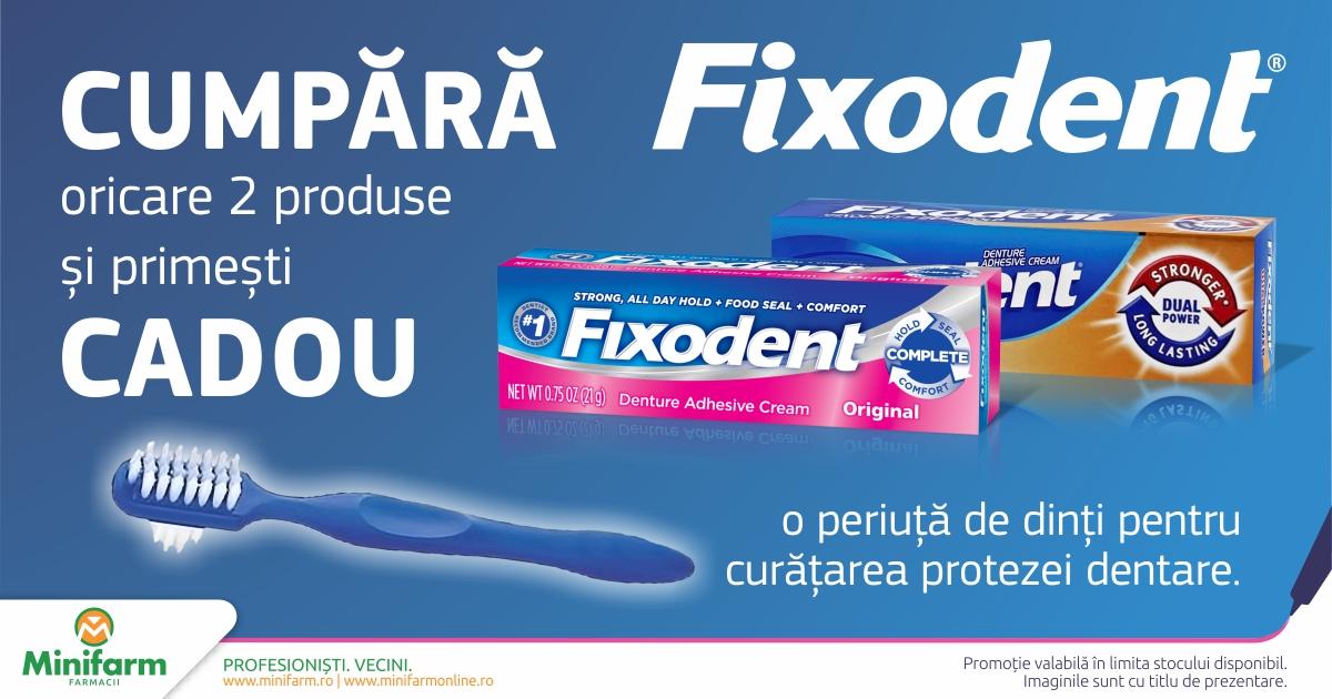 Cumpara oricare 2 produse Fixodent si primesti cadou o periuta pentru curatarea protezei dentare