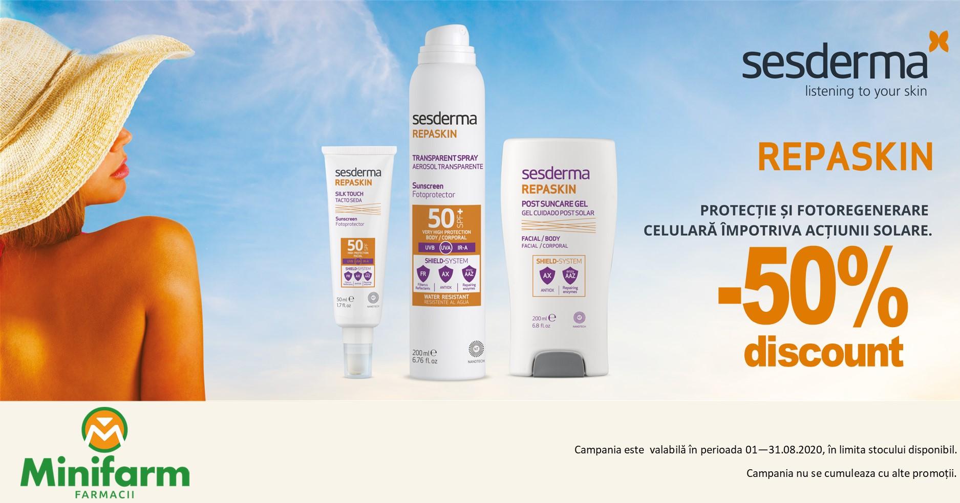 50% reducere pentru produsele Sesderma Repaskin pentru protectie solara
