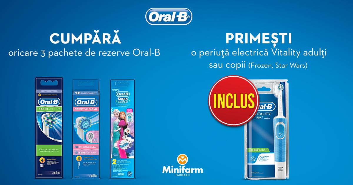 Cumpără oricare 3 pachete de rezerve Oral-B și primești o periuță electrică Oral-B Vitality