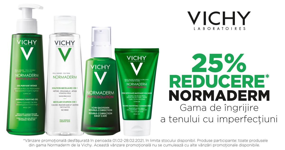 25% reducere la produsele pentru îngrijirea tenului Normaderm, de la Vichy