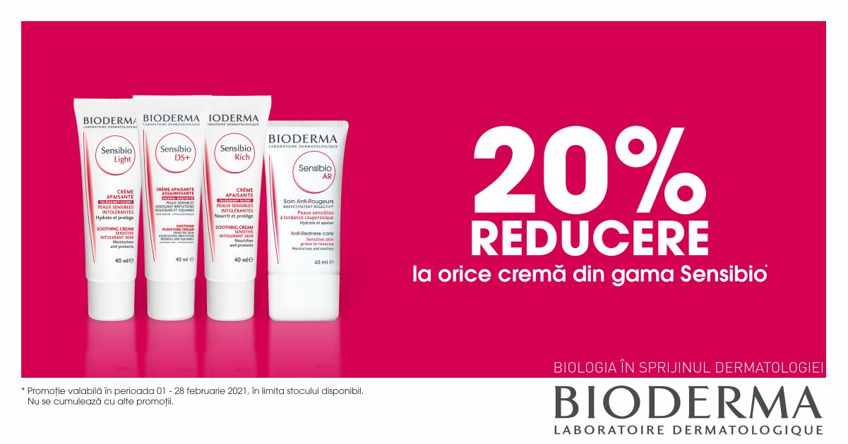 20% reducere la cremele Sensibio de la Bioderma
