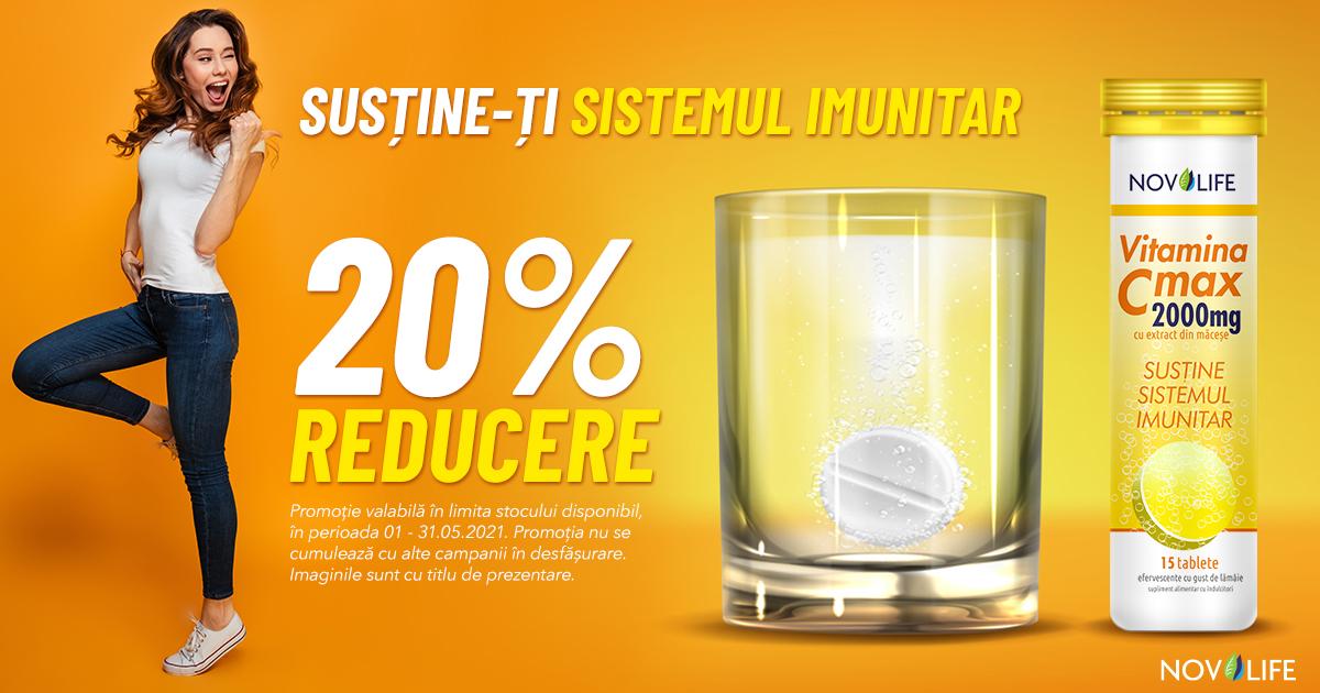 Susține-ți sistemul imunitar cu 20% reducere la Vitamina C Max de la Novolife!