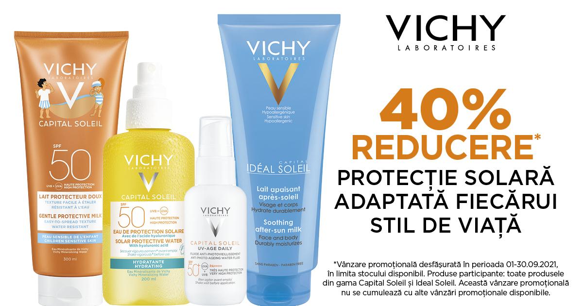 40% reducere pentru protectie solara adaptata fiecarui stil de viata, de la Vichy