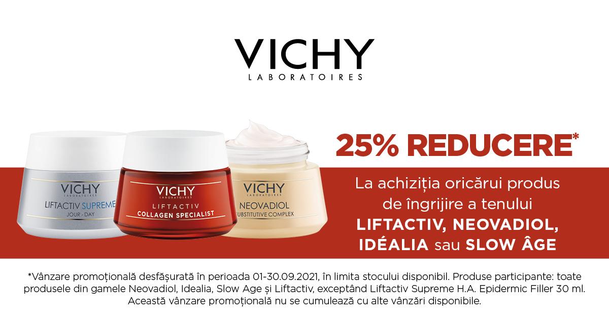 25% reducere pentru produsele de ingrijire a tenului, de la Vichy
