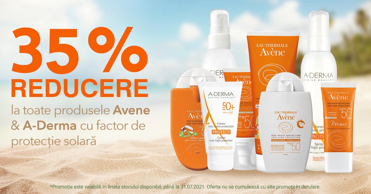 35% reducere la produsele pentru protectie solara de la A-Derma si Avene