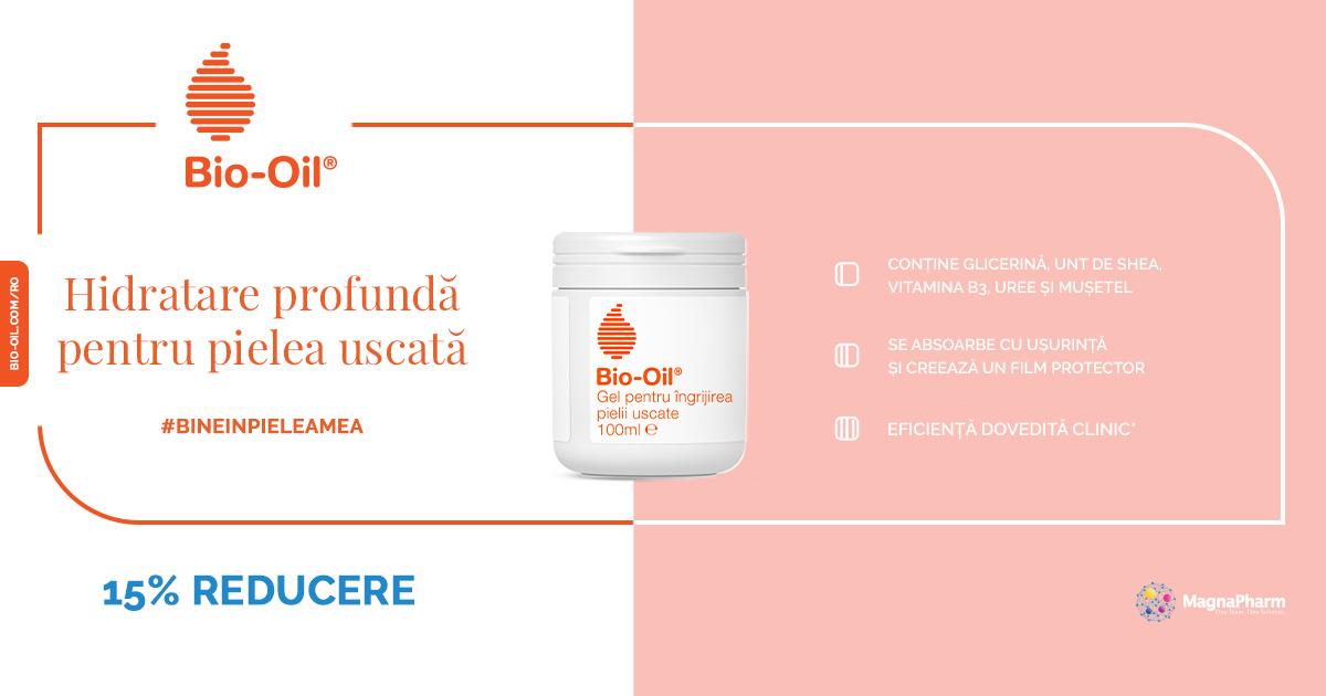 15% pentru ingrijirea pielii uscate, de la Bio-Oil